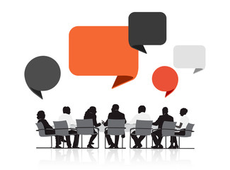 Silhouettes of Business People in a Meeting and Speech Bubbles