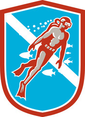 Scuba Diver Diving Going Up Shield Retro