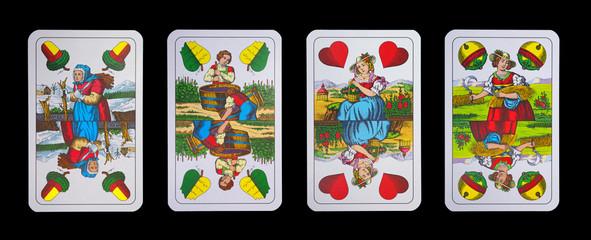 Spielkarten - Schnapskarten  ASSE der vier Jahreszeiten