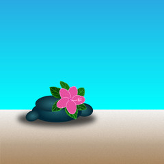 Stones With  Flower. - Illustration