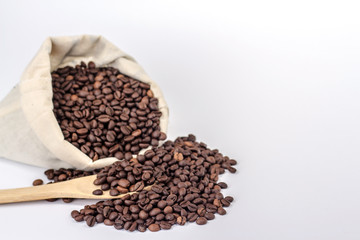 wooden spoon on a background of a full bag of coffee beans