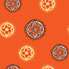 Seamless elegant floral pattern on orange background