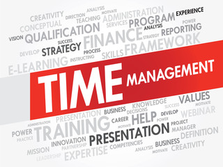 Word cloud of Time Management related items, vector