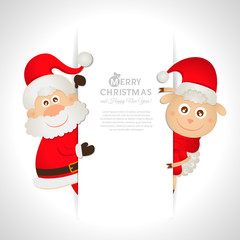 Postcard Santa Claus and sheep with space for text