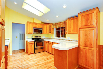 Countryside house  kitchen room interior with skylights