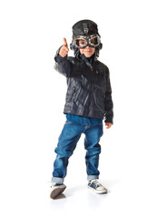 Kid dressed as aviator with thumb up