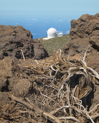Landscape with telescope and rocks in La Palma. Spain