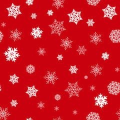 Snowflake on red background seamless pattern