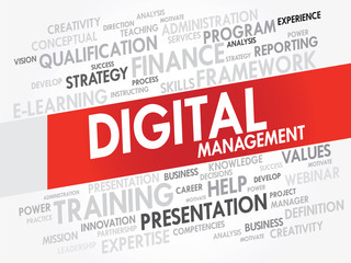 Word cloud of DIGITAL Management related items, vector