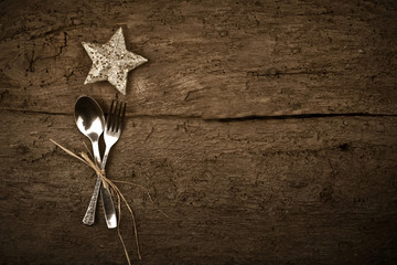 Christmas day dinner rustic background