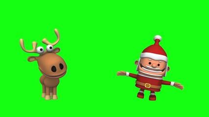 Funny Dancing Santa Claus and Reindeer