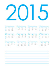 calendar planner for 2015, week starts with sunday, vector illus