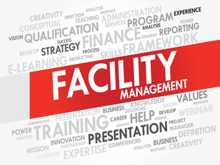 Word cloud of FACILITY Management related items, vector