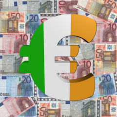 Euro symbol with Irish flag on Euro currency illustration