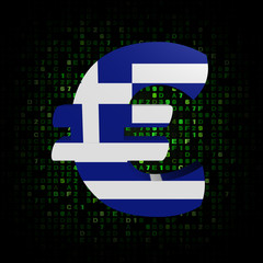 Euro symbol with Greek flag on hex code illustration