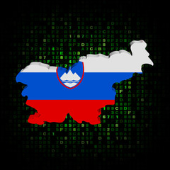 Slovenia map flag on hex code illustration