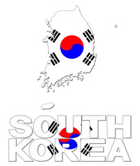 South Korea map flag and text illustration