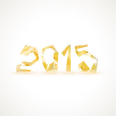 Happy New Year 2015 greeting card made in polygonal style.