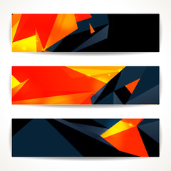 Set of bright polygonal geometric banners for modern design