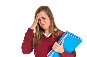 frustrated student over isolated white background
