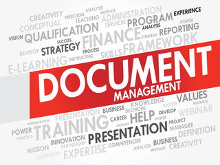 Word cloud of Document Management related items, vector