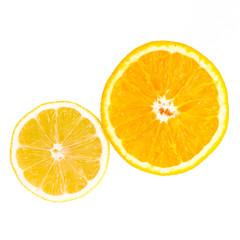 fresh  orange and lemon isolated