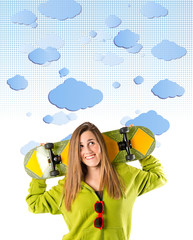 Skater with green sweatshirt over clouds background