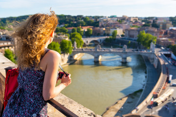 Girl admiring the view of Rome
