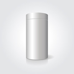 Empty white cylindrical box on the isolated background