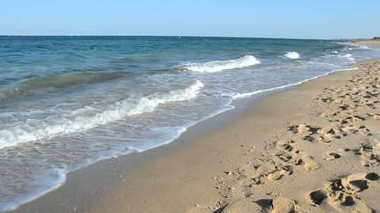 Waves breaking on tropical beach