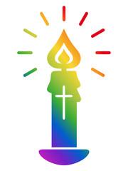 Kerze, Kruzifix, christlich, Symbol, Flamme, Regenbogenfarben