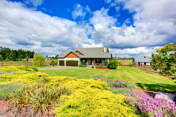 Countryside house exterior with a large chunk of land