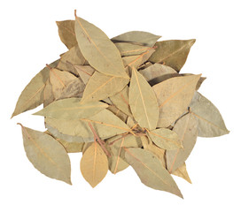 Dry bay laurel leaves on a white