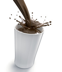 Ein Becher Kakao vor Weiss