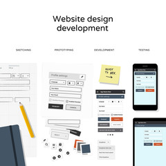 Website development - flat design illustration