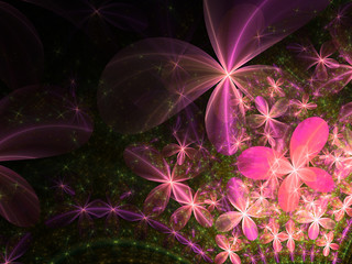 Colorful fractal flowers, floral pattern