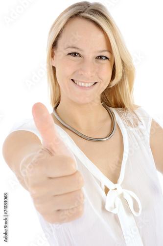 """canvas print picture Blonde Frau """"Daumen hoch"""""""