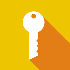 Long shadow icon with a key