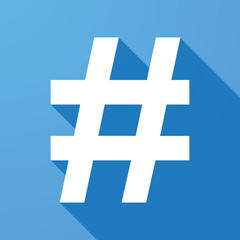 Long shadow icon with a hash tag