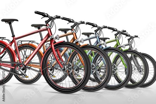 Leinwandbild Motiv Fahrrad, Fahrräder, Fahradverleih, freigestellt
