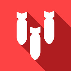 Long shadow icon with bombs