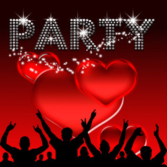 Party poster valentine's day glass hearts