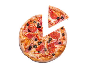 Delicious pizza with ham, tomatoes, and olives with a slice remo