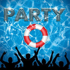 Party poster lifebuoy pool party