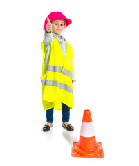 Blonde little girl dressed like workman