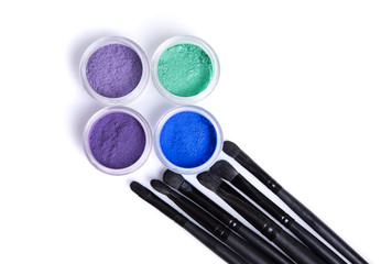 Mineral eye shadows and brushes