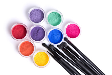 Set of bright matte mineral eye shadows and brushes