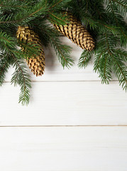 Christmas fir tree on a wooden board