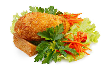 Cutlet with vegetable garnish