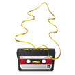 Weihnachtskarte, abstrakter Tannenbaum, 80er, Kassette, golden